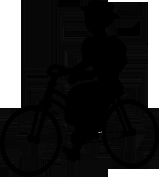 Historische Radfahrerin